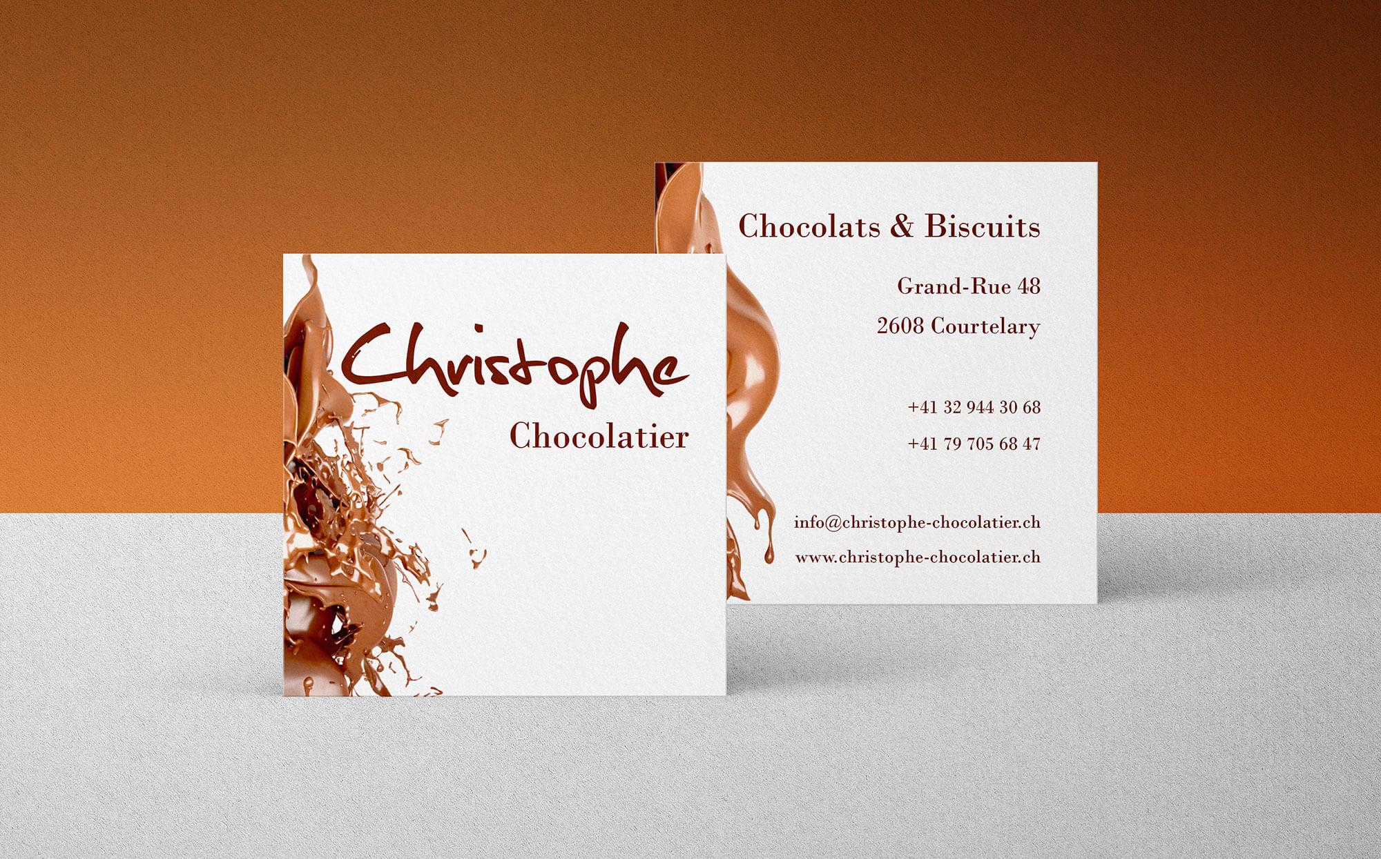 cartes de visite Christophe Chocolatier