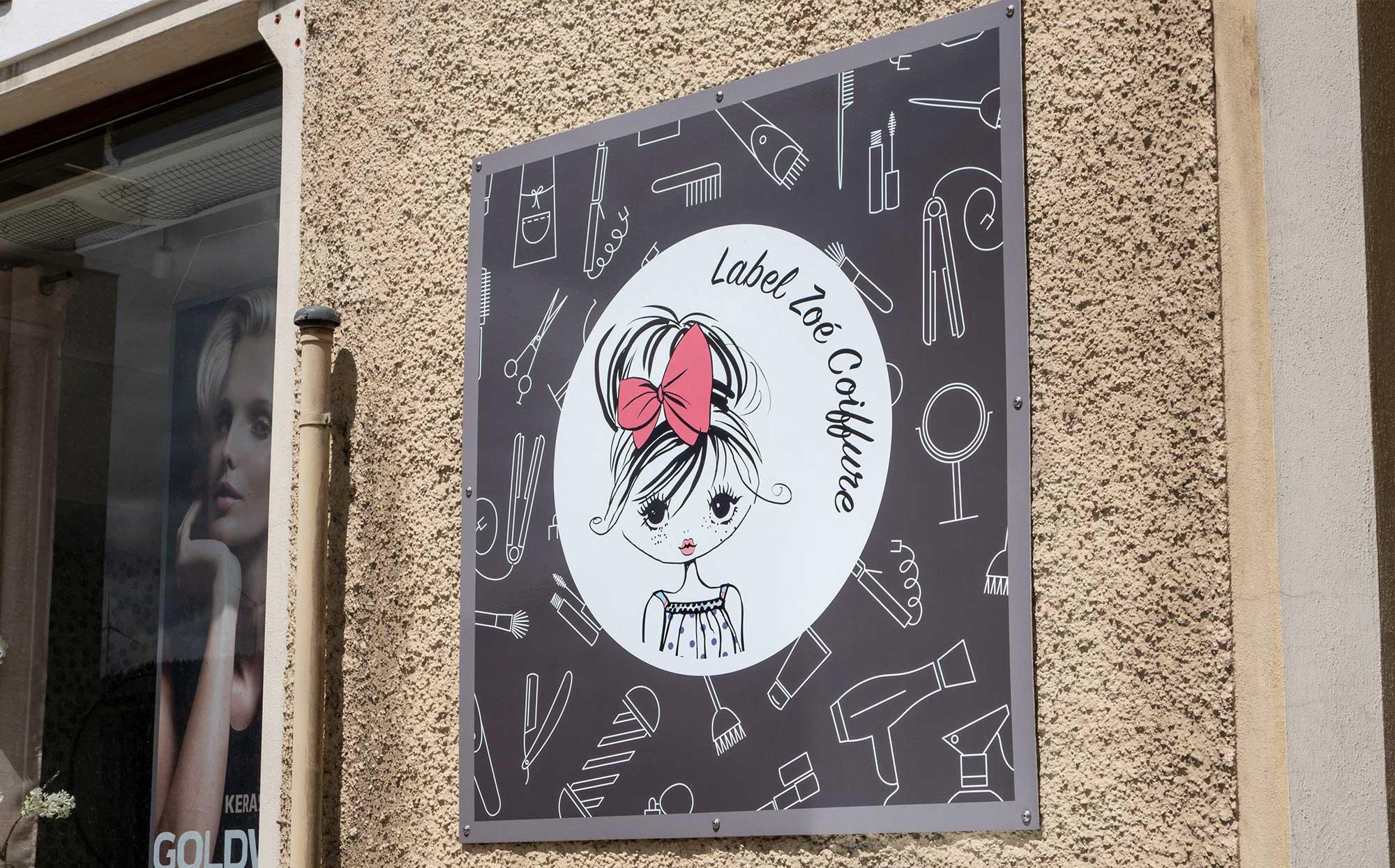Panneau signalétique Label Zoé Coiffure