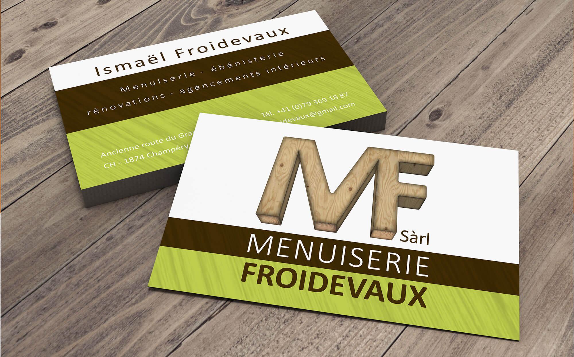 Cartes de visite Menuiserie Froidevaux