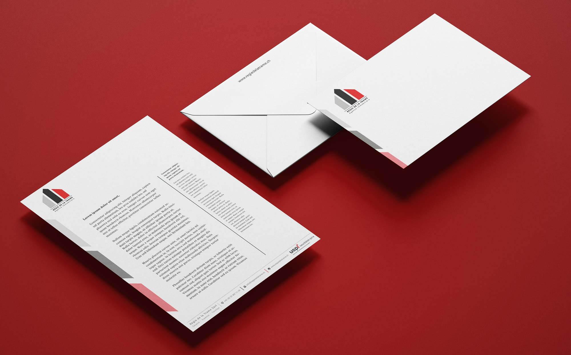Papier à lettre et enveloppe Régie de la Trame